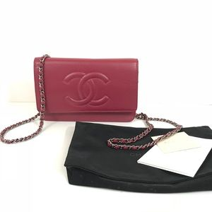 Chanel timeless caviar wallet on chain